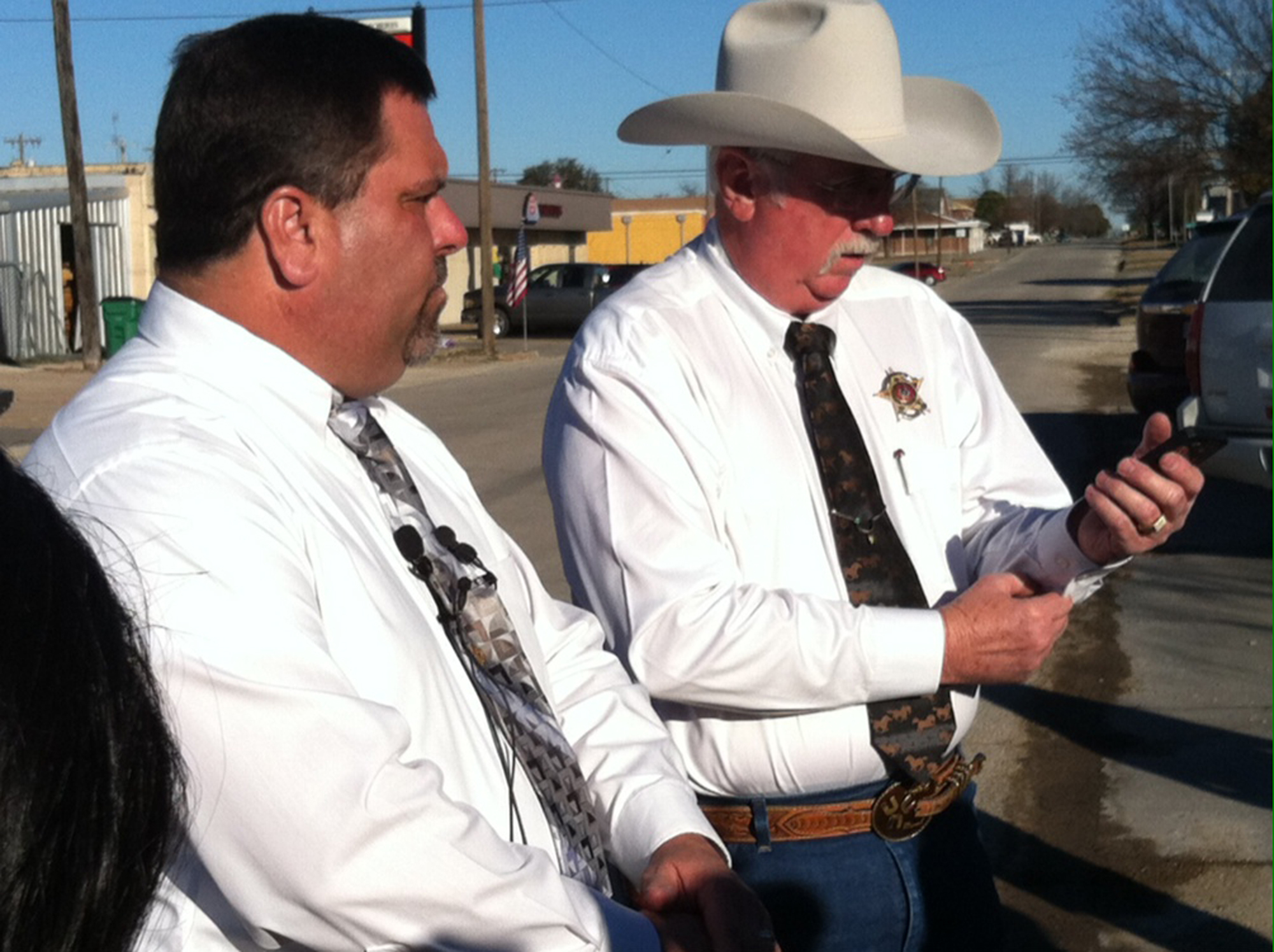 Nocona Police Cheif Kent Holcomb and Sheriff Paul Cunningham at this morning's press conference.