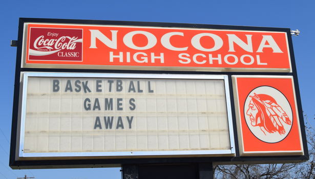 nocona high school sign
